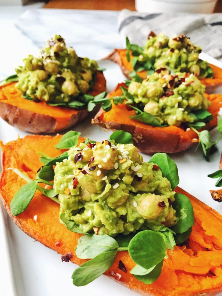 Chickpea and Avocado Stuffed Sweet Potatoes - Daisybeet