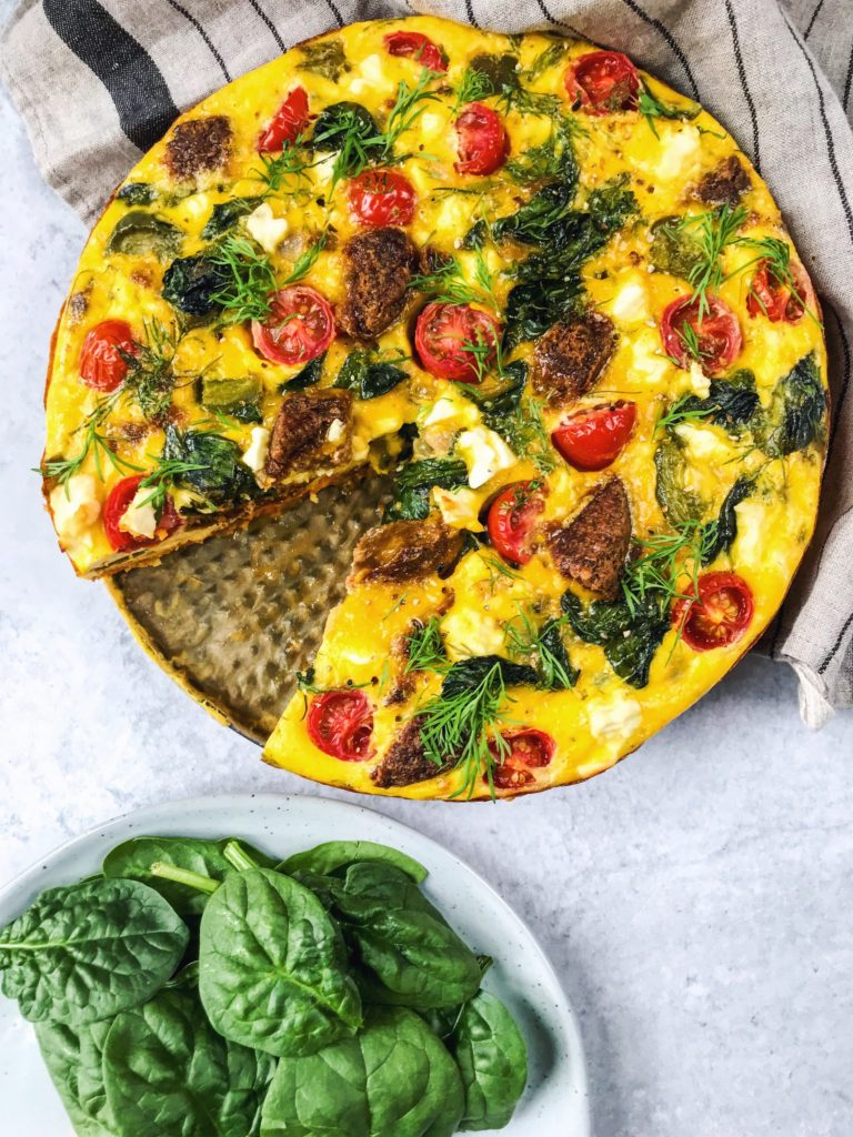 Vegetable Frittata with Sweet Potato Crust - Healthy Pantry Staple Recipes - Daisybeet