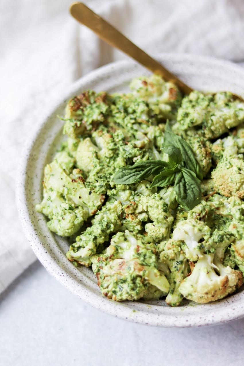 Bowl of vegan pesto cauliflower