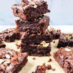 Fudgy Tahini Brownies with Chocolate Drizzle