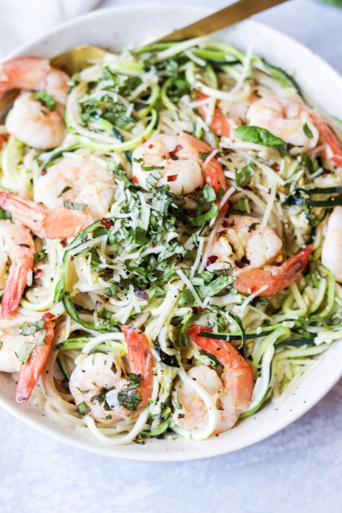 Shrimp Scampi Zoodles and Noodles - Daisybeet