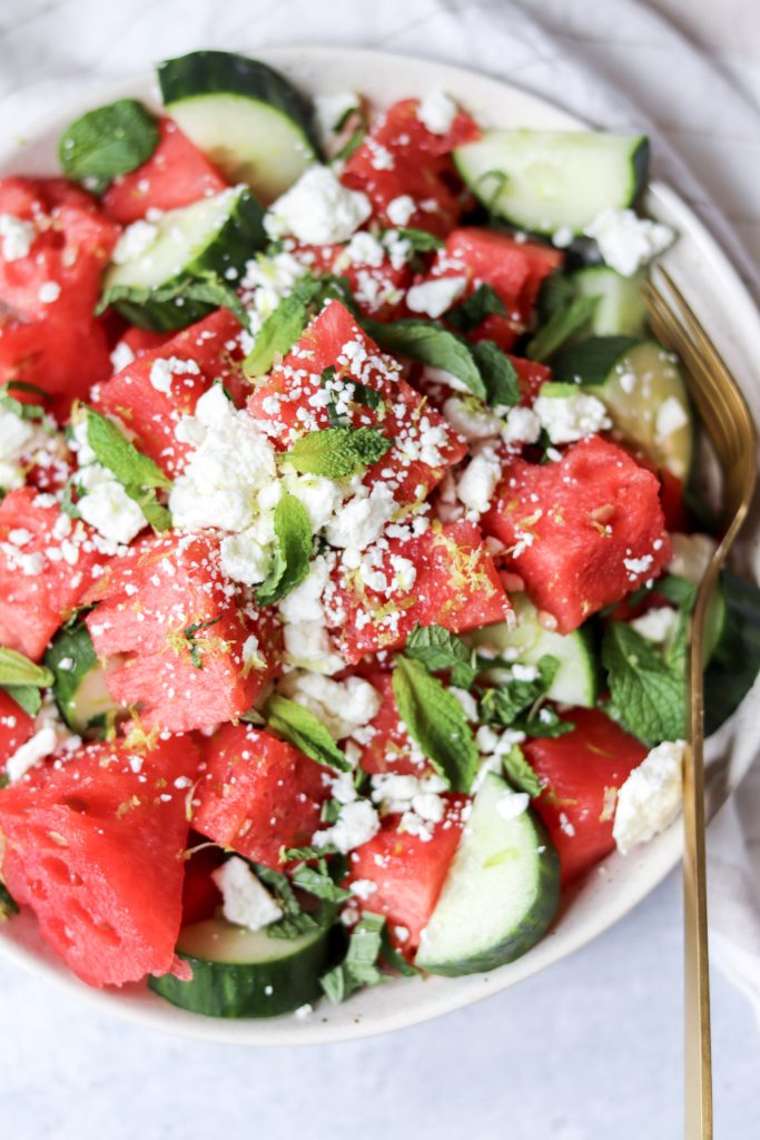 10 Summer Salad Recipes - Watermelon Feta Salad with Cucumber and Mint - Daisybeet