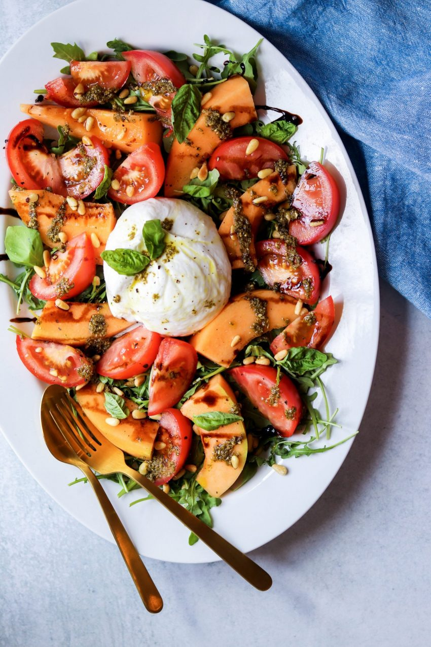 Burrata salad with tomatoes and melon