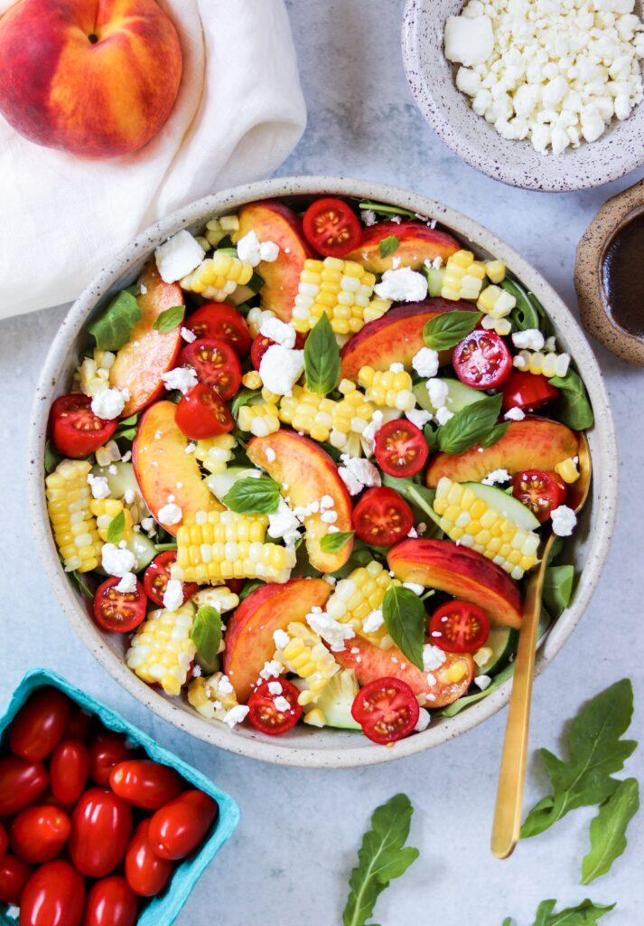 10 Summer Salad Recipes - The Best Summer Peach Salad - Daisybeet