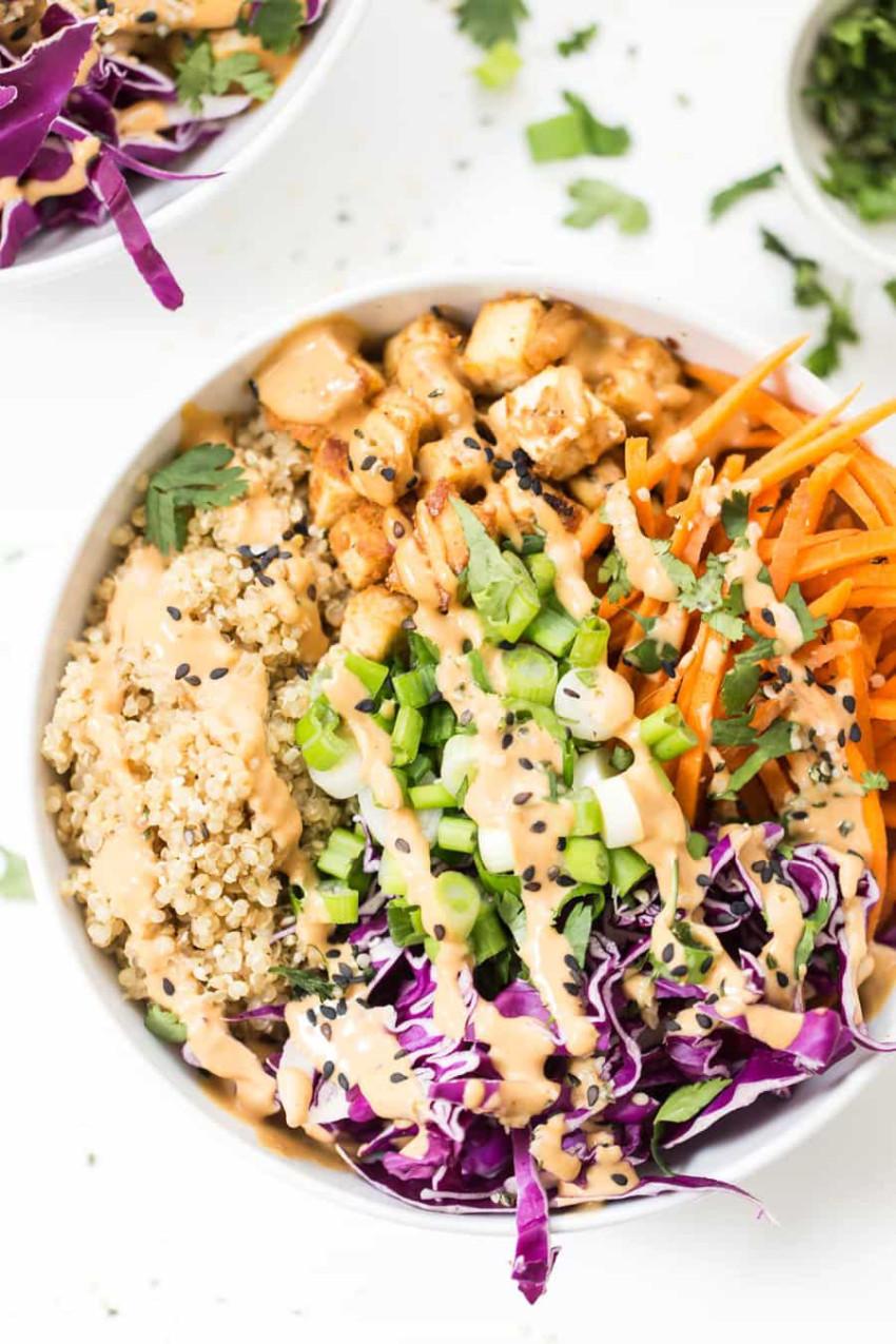 Asian peanut tofu quinoa bowl grain salads - simply quinoa