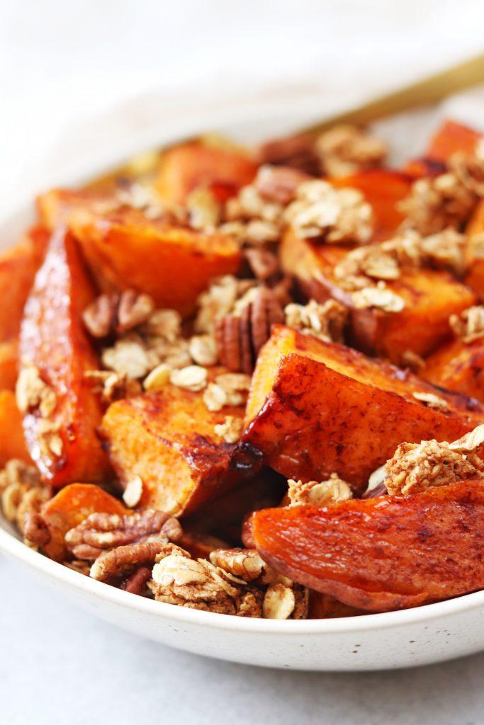 Maple Cinnamon Sweet Potato Wedges with Pecan Crumble - Daisybeet