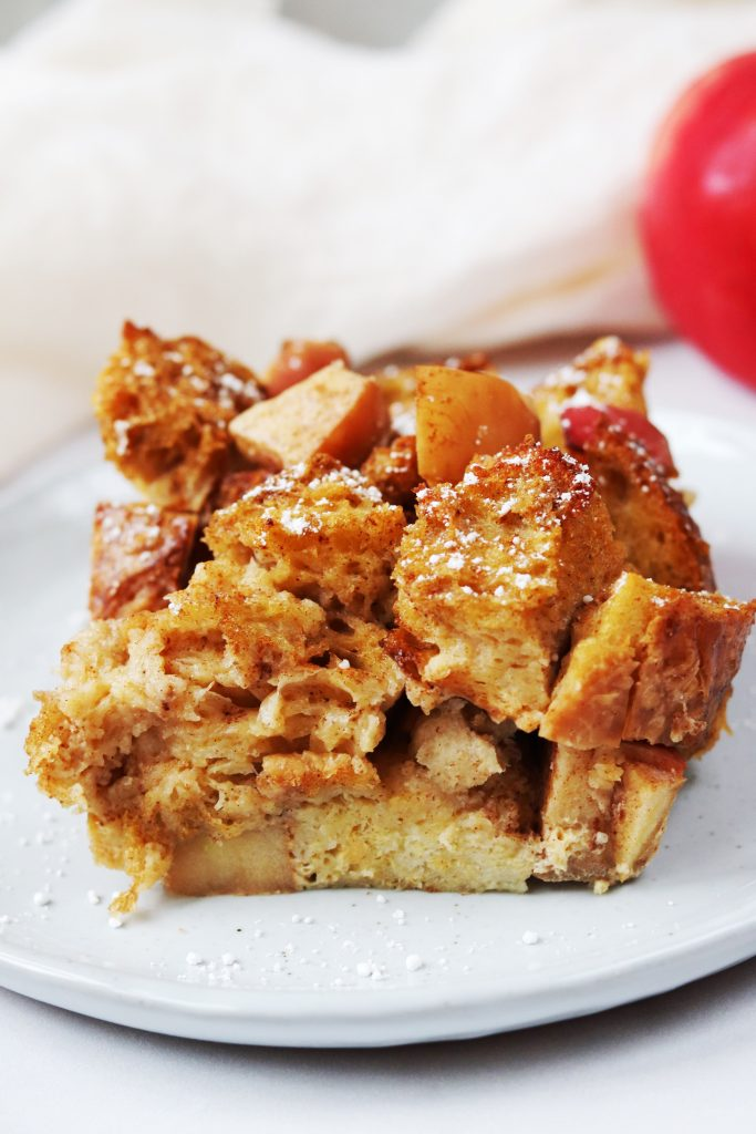 Slice of Apple Cinnamon Sourdough French Toast Bake - Daisybeet