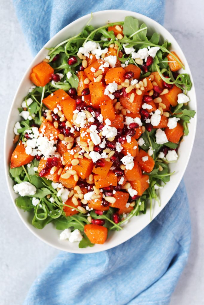 Butternut Squash Salad with Pomegranate and Goat Cheese - Daisybeet