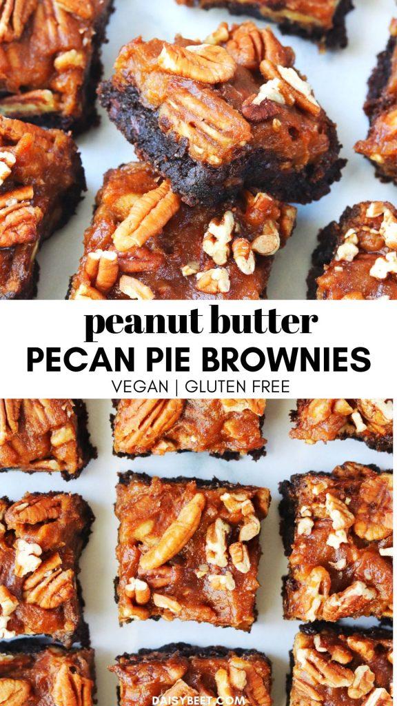 Peanut Butter Pecan Pie Brownies - Daisybeet