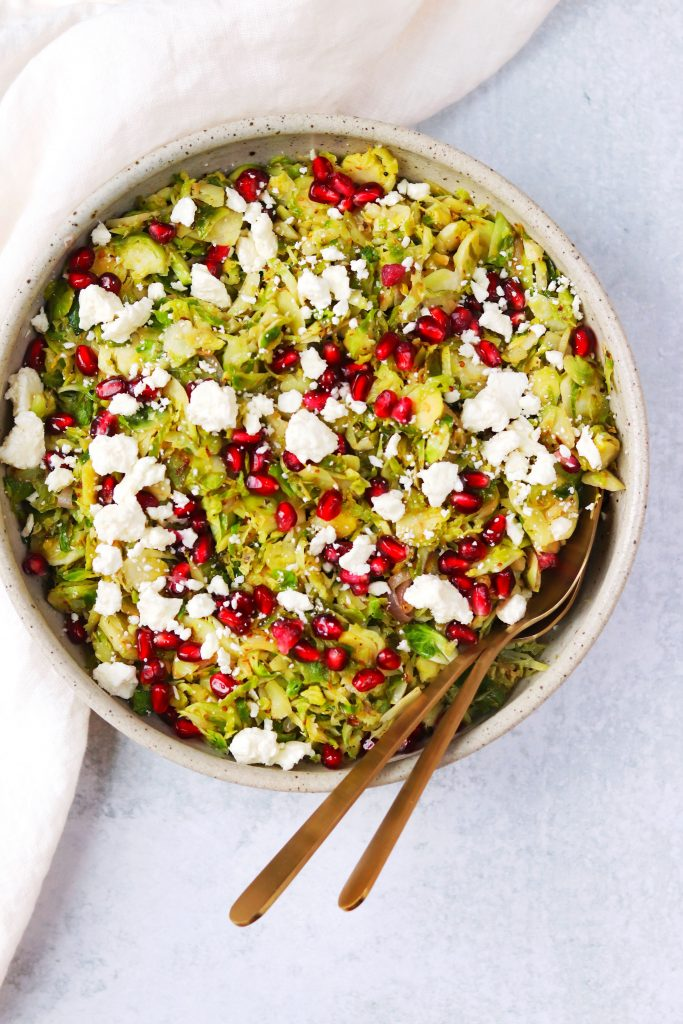 Shredded Brussels Sprouts with Pomegranate and Feta - Daisybeet