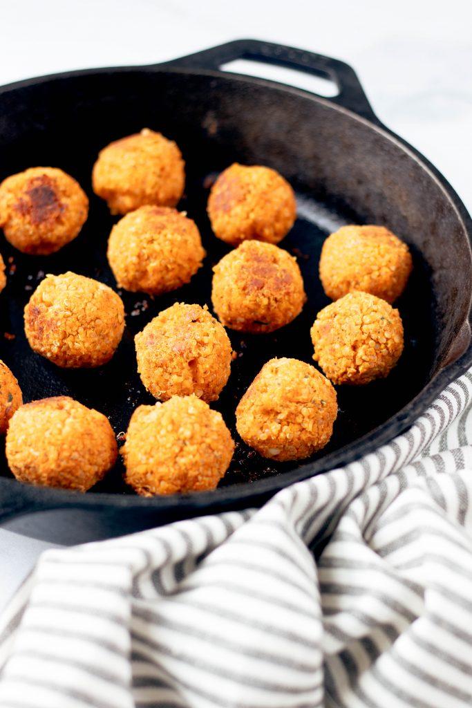 Buffalo Chickpea Quinoa Meatballs in Cast Iron Skillet - Daisybeet