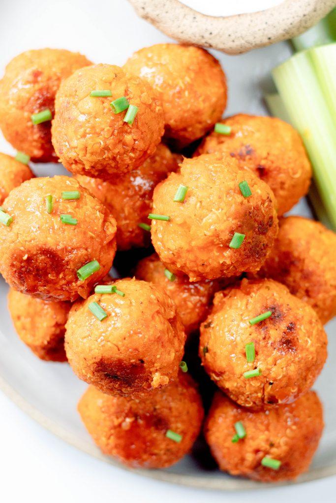 Buffalo Chickpea Quinoa Meatballs  - Daisybeet
