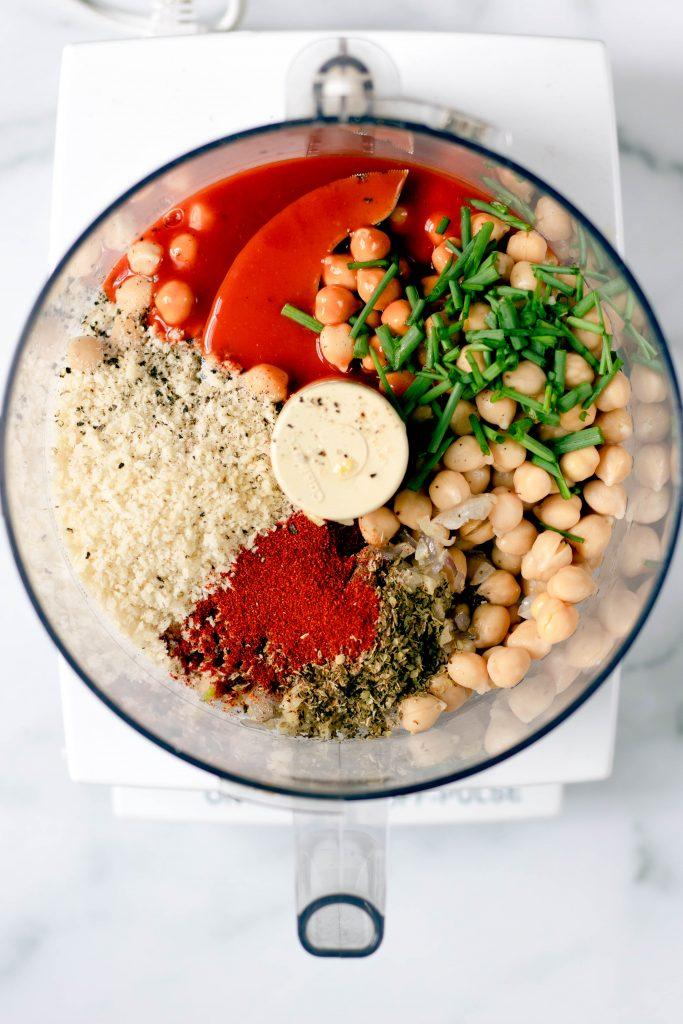 Buffalo Chickpea Quinoa Meatballs Ingredients in Food Processor - Daisybeet