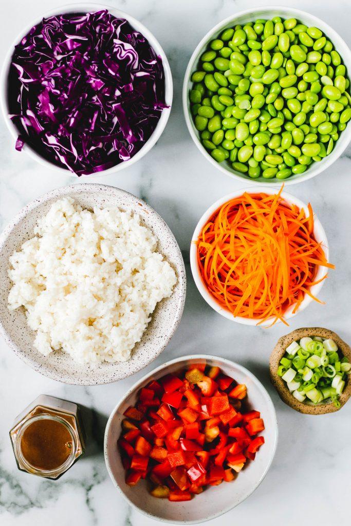 Thai peanut rice salad ingredients - Daisybeet