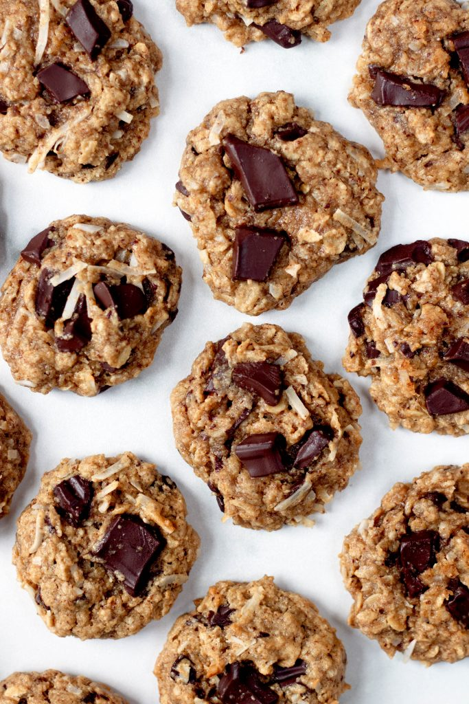 Tahini Oatmeal Cookies with Coconut and Chocolate Chips - 20 Amazing Vegan Cookie, Brownie, and Bar Recipes  - Daisybeet