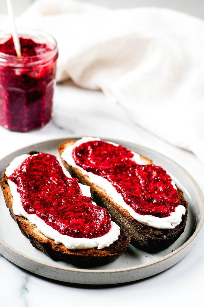 Raspberry Chia Jam on Toast - Daisybeet