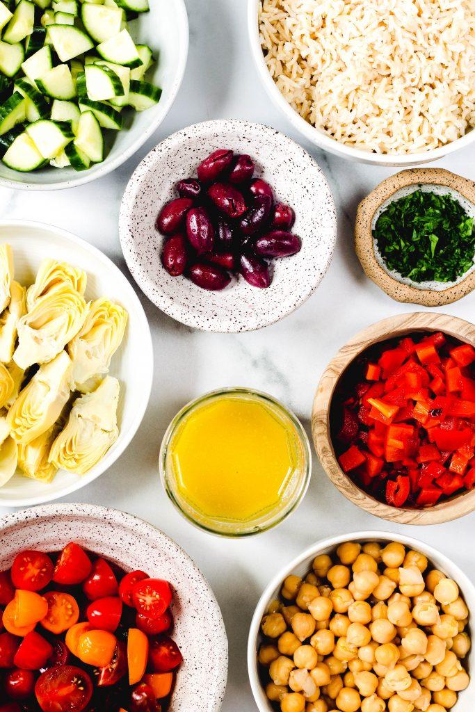 Mediterranean Brown Rice Salad Ingredients - Daisybeet