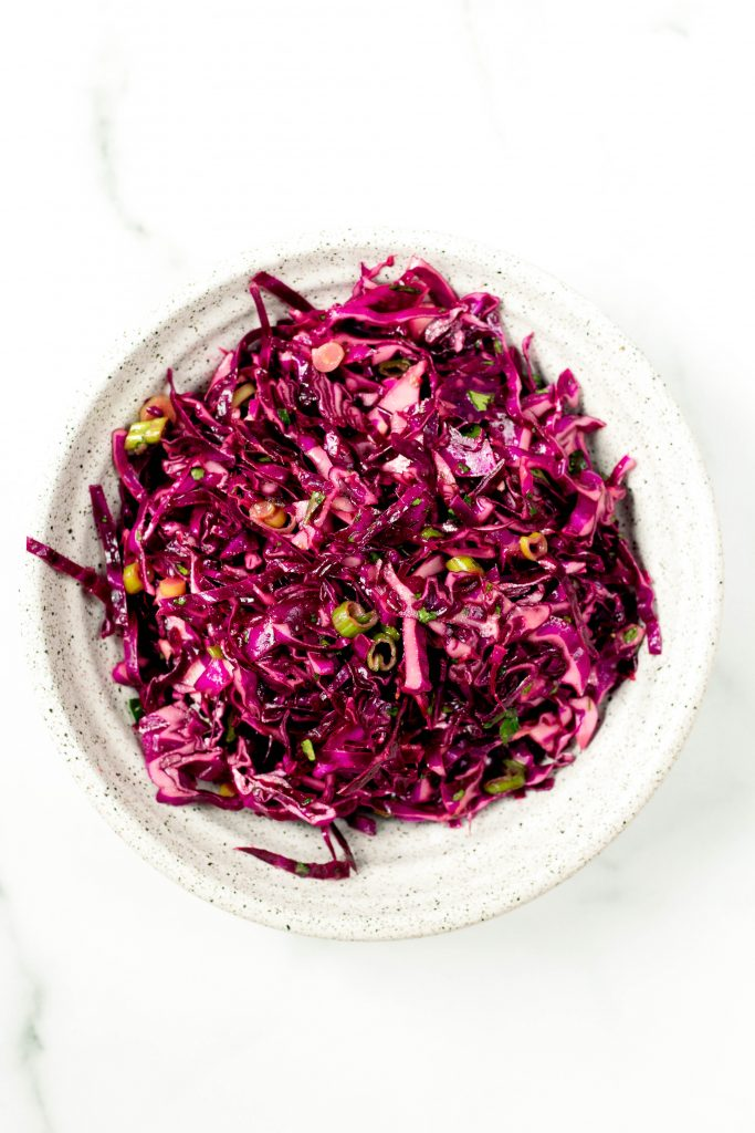 Red cabbage slaw for tofu tacos - Daisybeet