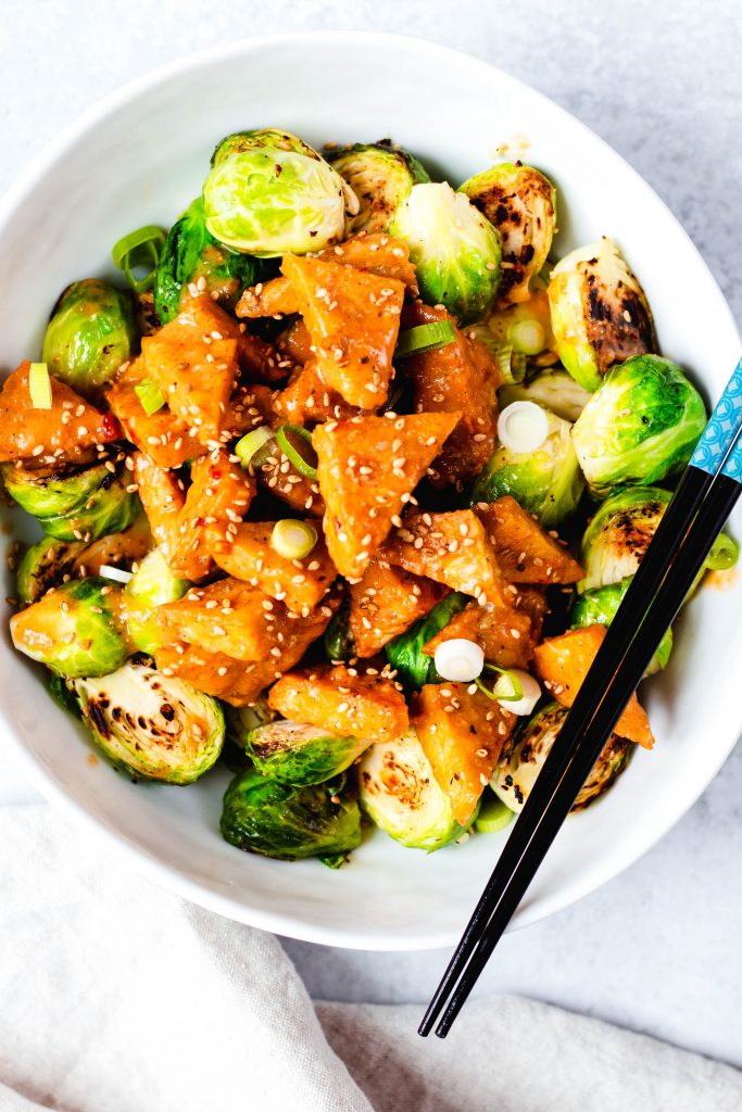 Tempeh and Brussels Sprouts with Sesame Almond Sauce - Daisybeet