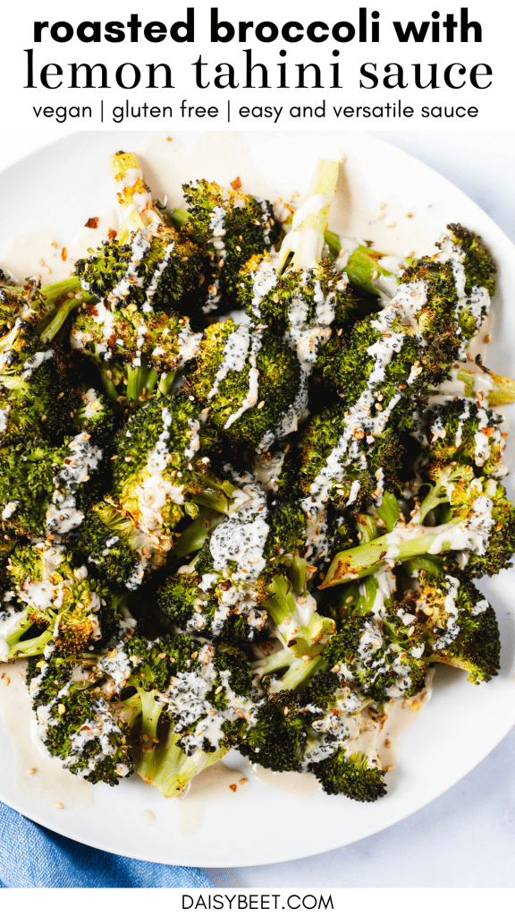 Roasted Broccoli with Lemon Tahini Sauce - Daisybeet