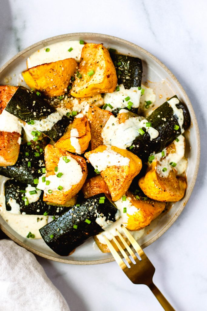 Roasted Zucchini with Curry Yogurt Sauce - Daisybeet