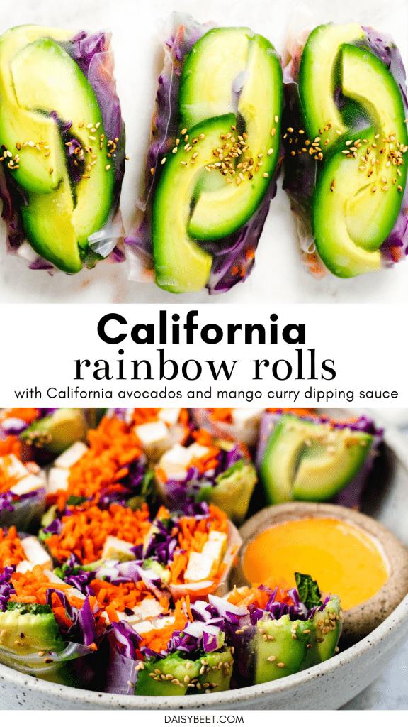 California Rainbow Rolls with Mango Curry Dipping Sauce - Daisybeet