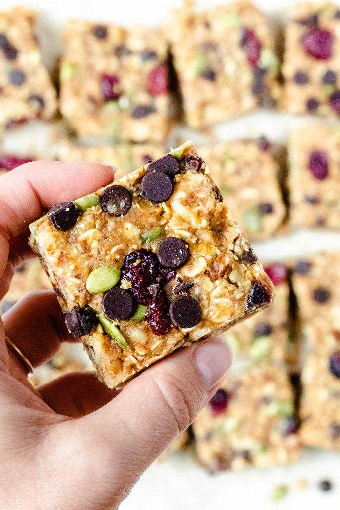 No Bake Peanut Butter Trail Mix Bars -Daisybeet