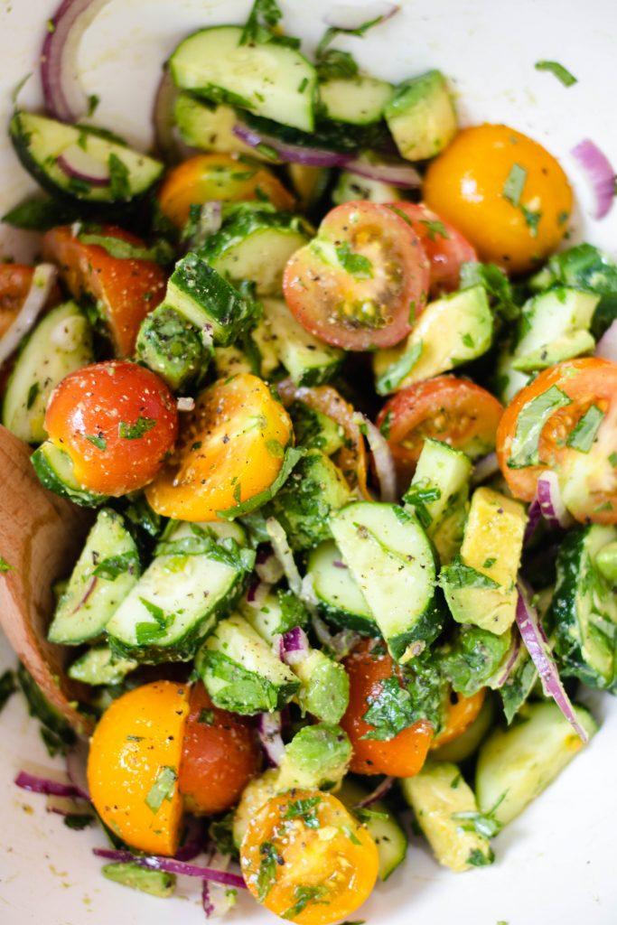 10 Summer Salad Recipes - Tomato Avocado Cucumber Salad - Daisybeet