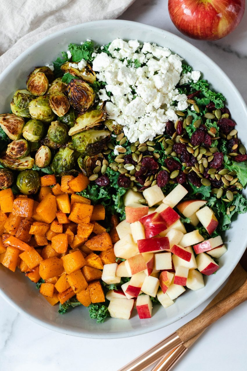 Fall kale salad in a large bowl