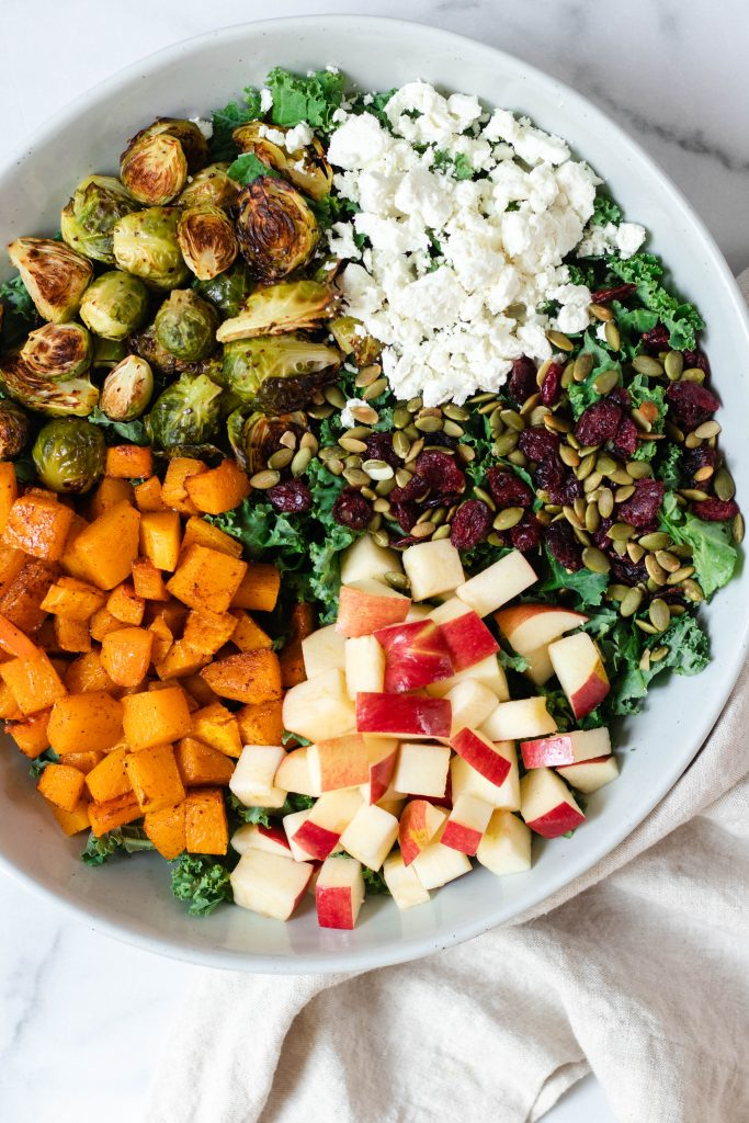 Fall Kale Salad with Butternut Squash, Brussels Sprouts, and Apples (Gluten Free) - Daisybeet