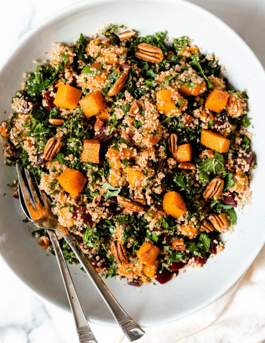 Beet quinoa salad with butternut squash, kale, and pecans