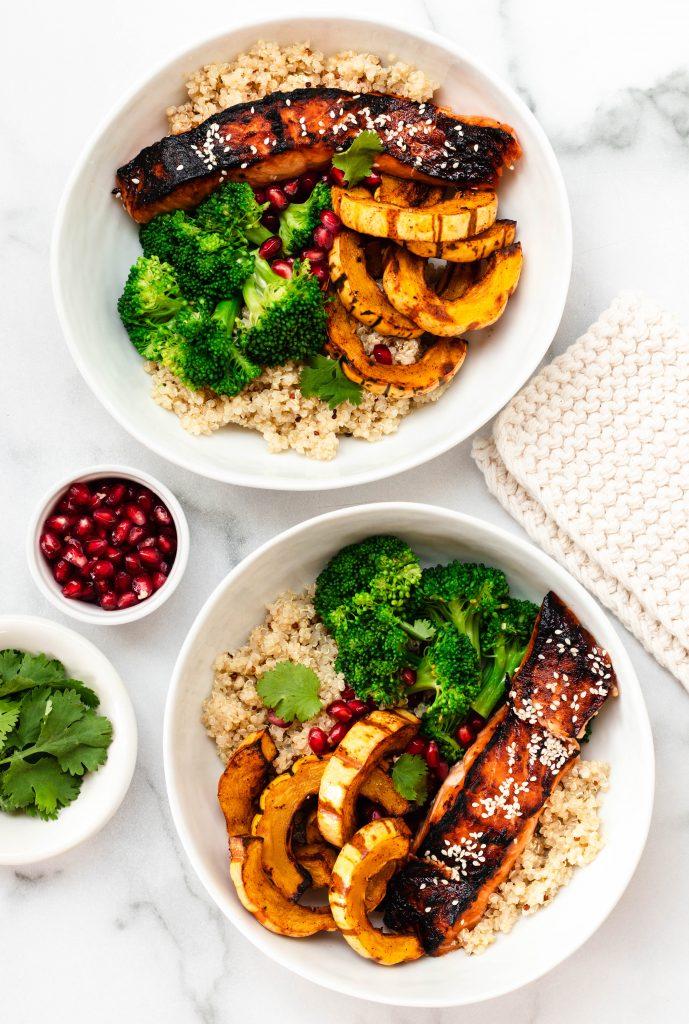 Soy Maple Salmon Bowls with Broccoli, Delicata Squash, and Quinoa - Daisybeet