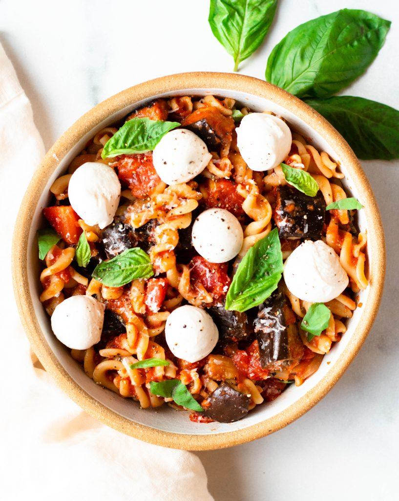 Pasta alla Norma with Basil and Fresh Mozzarella (Gluten Free) - Daisybeet