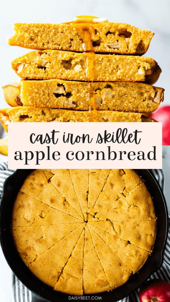 Cast Iron Skillet Apple Cornbread - Daisybeet