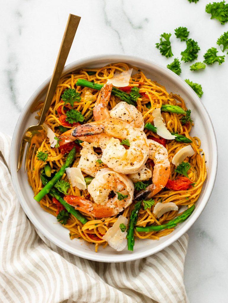Angel Hair Pasta with Shrimp and Asparagus   Daisybeet   Alex Aldeborgh, MS, RD