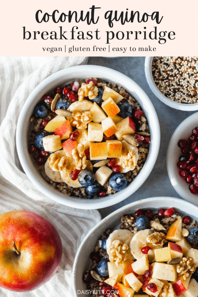 Coconut Quinoa Porridge with Cinnamon and Ginger (Vegan, Gluten Free) | Daisybeet, MS, RD