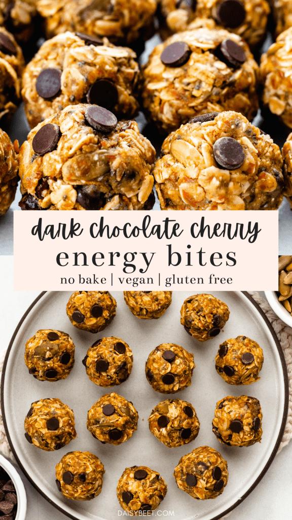 No Bake Dark Chocolate Cherry Energy Bites | Alex Aldeborgh, Daisybeet, MS, RD