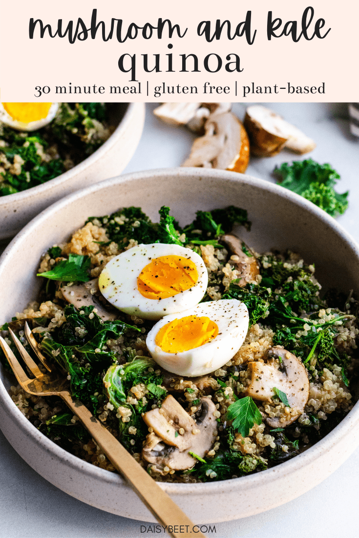 Two bowls of mushroom and kale quinoa topped with hard boiled eggs