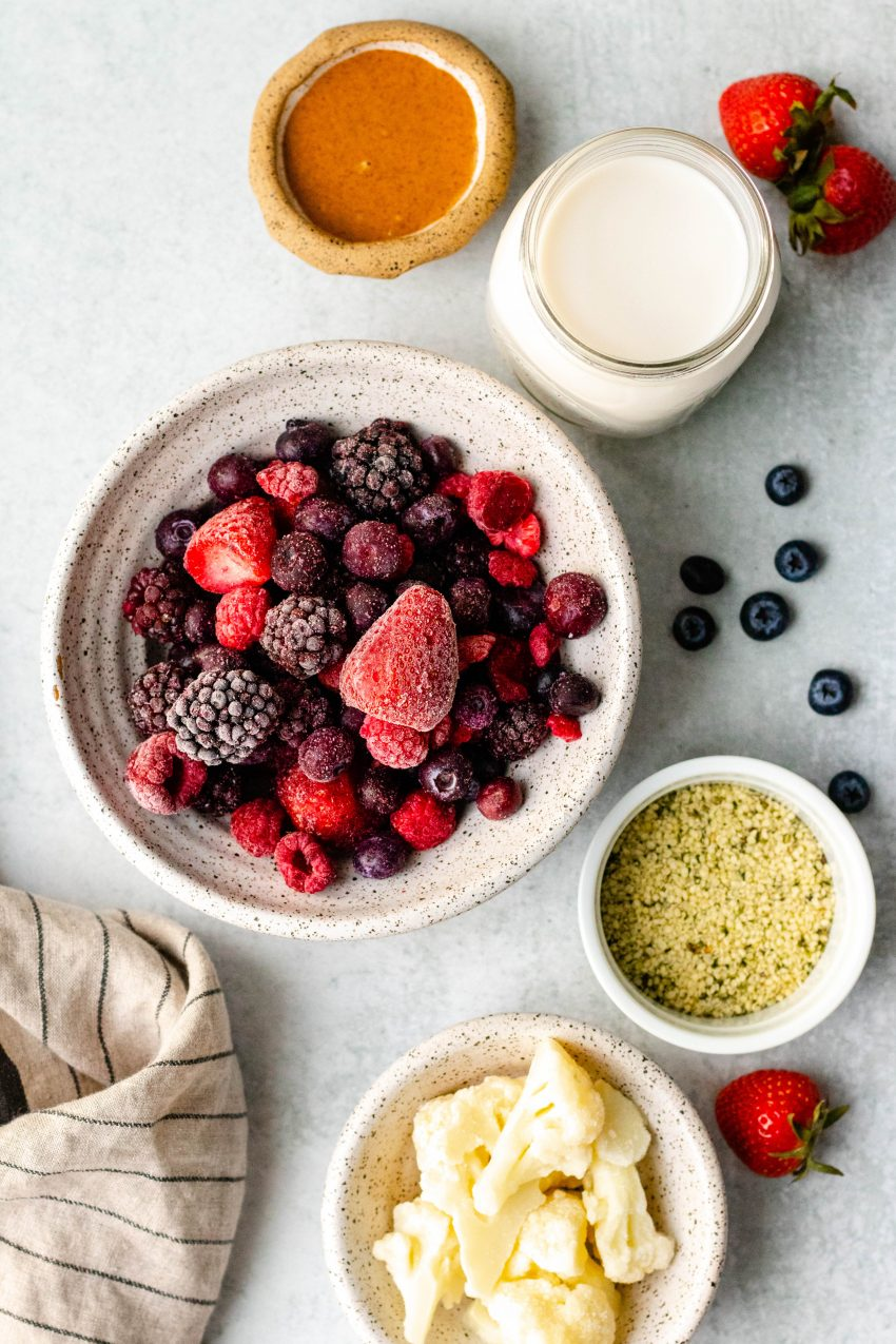 Almond butter and jelly smoothie ingredients