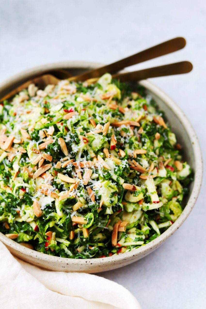 Shredded kale and brussels sprouts salad with apples