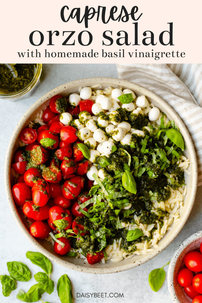 Bowl of caprese orzo salad with cherry tomatoes, basil leaves, and basil vinaigrette surrounding the bowl