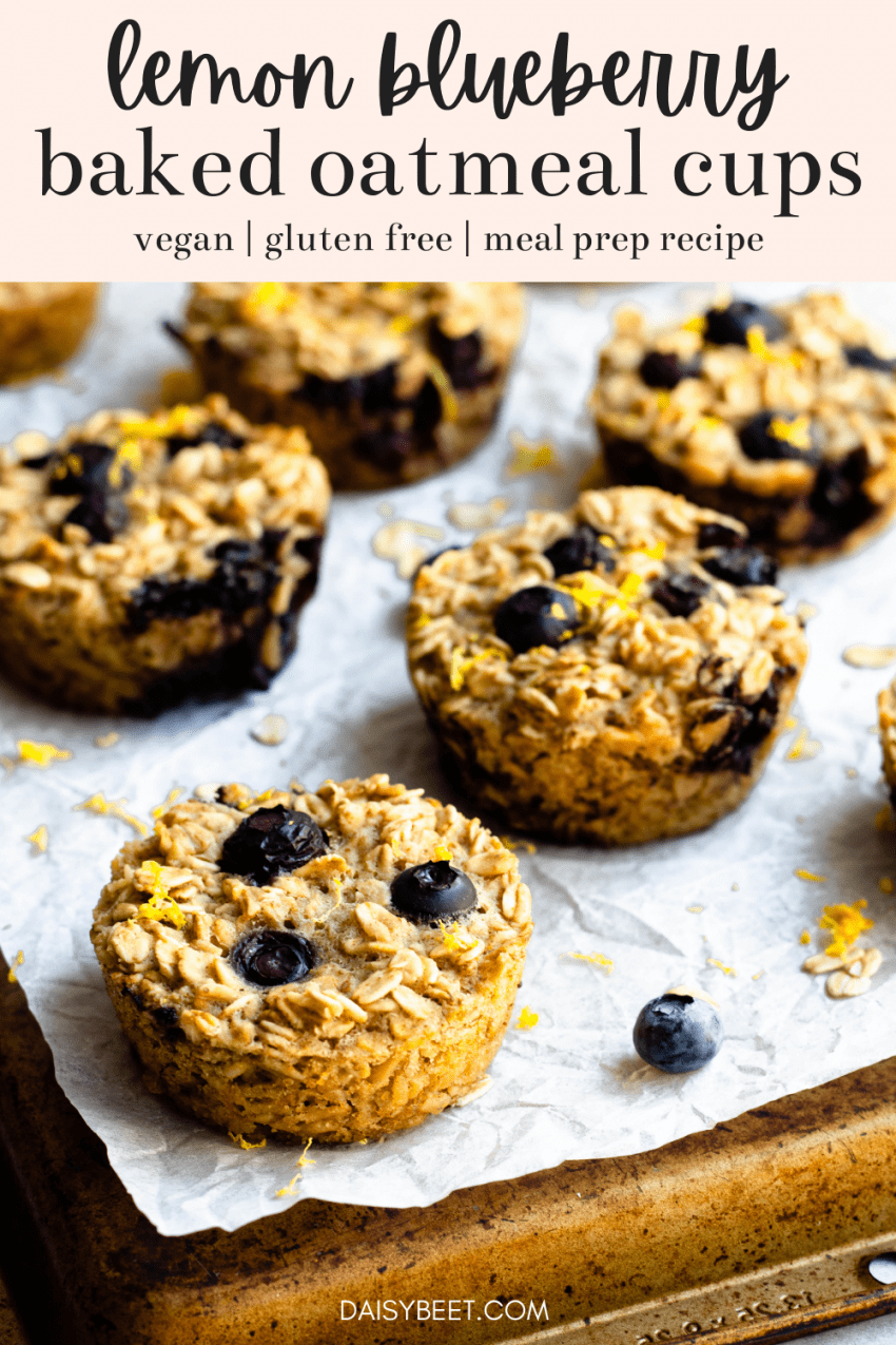 Close up of lemon blueberry baked oatmeal cups