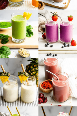 Graphic with photos of different smoothies with vegetables