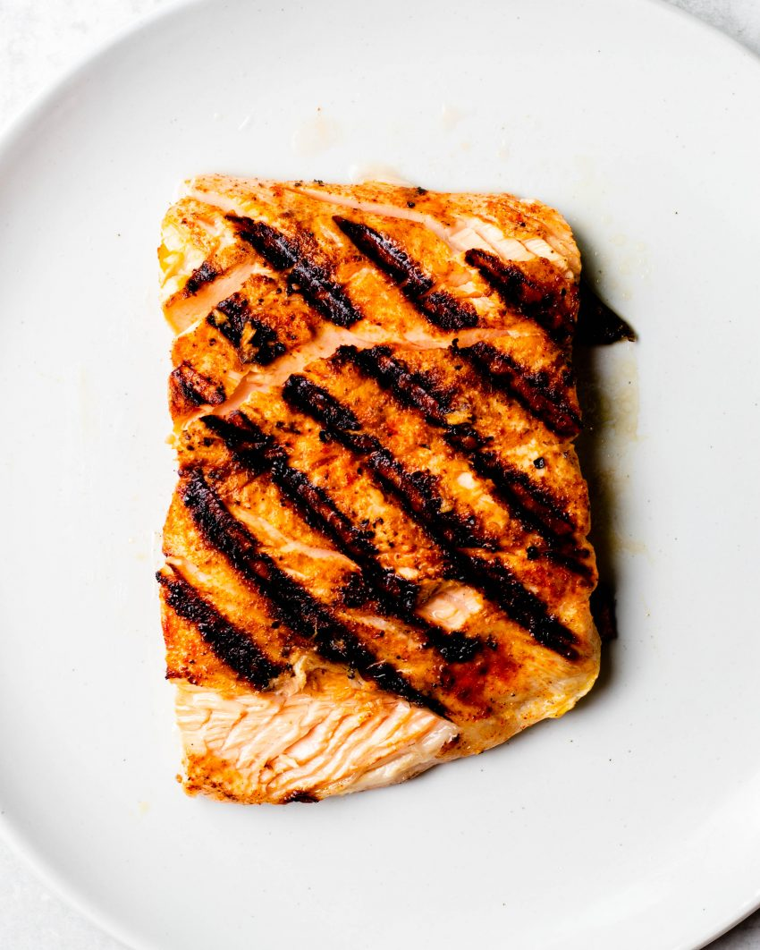 Close of up a piece of grilled salmon
