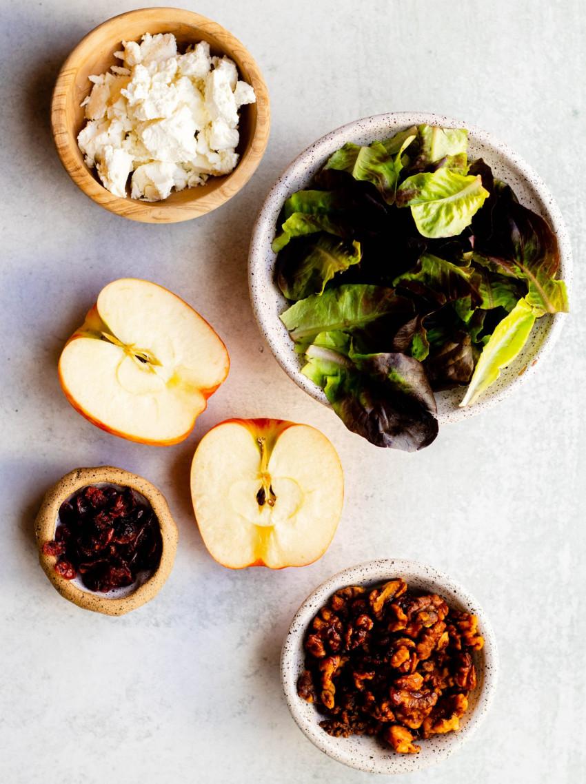 Apple cranberry walnut salad ingredients